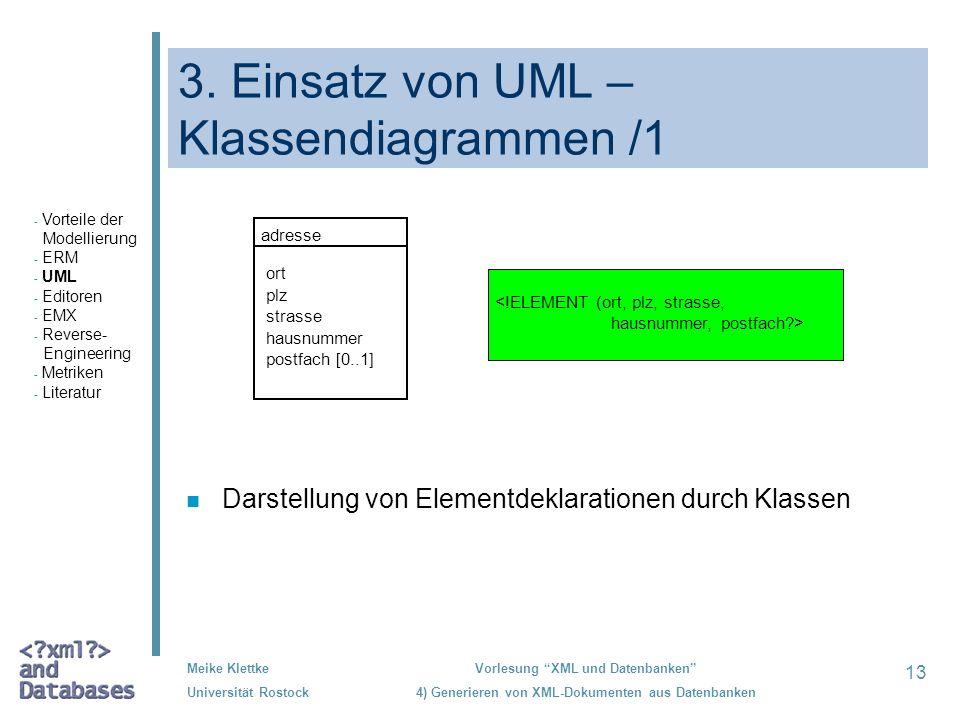 3. Einsatz von UML – Klassendiagrammen /1