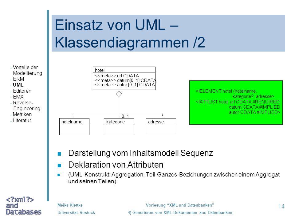 Einsatz von UML –Klassendiagrammen /2