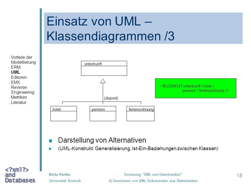 Einsatz von UML –Klassendiagrammen /3