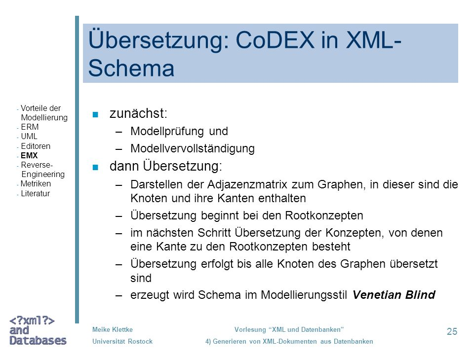 Übersetzung: CoDEX in XML-Schema