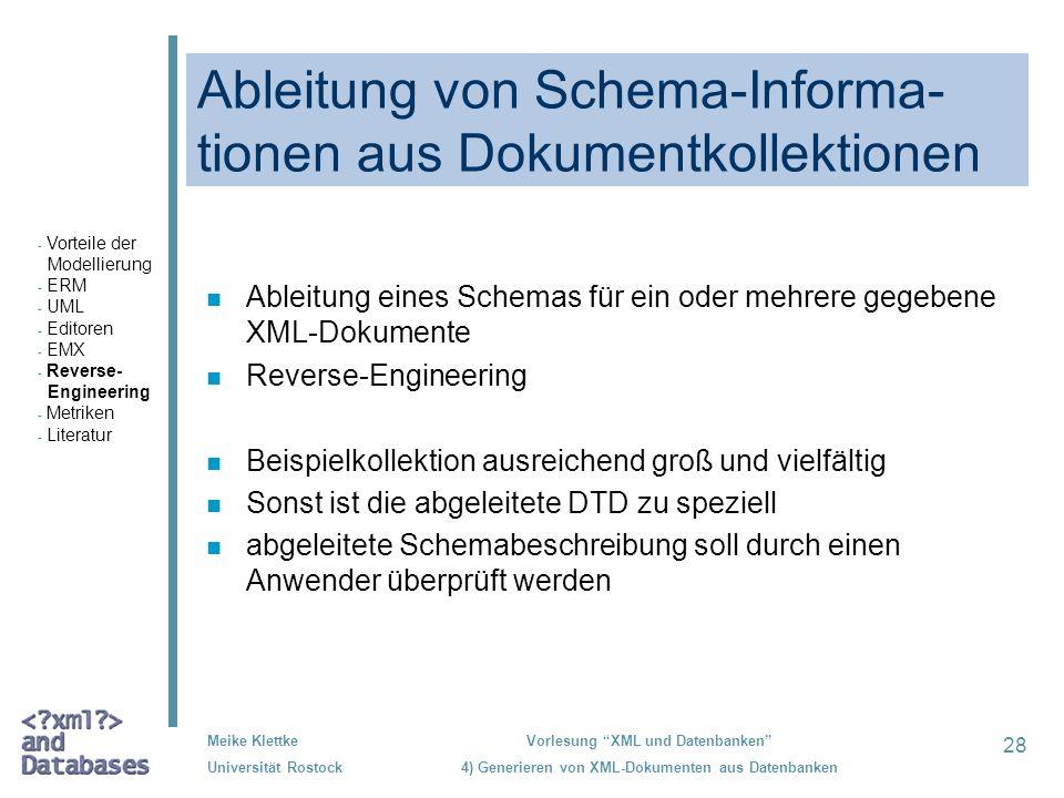 Ableitung von Schema-Informa-tionen aus Dokumentkollektionen