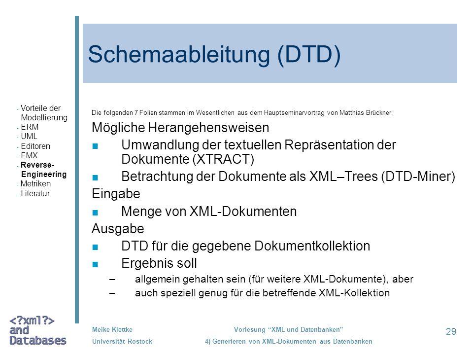 Schemaableitung (DTD)