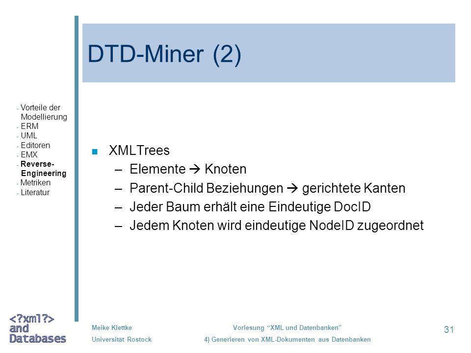DTD-Miner (2) XMLTrees Elemente  Knoten