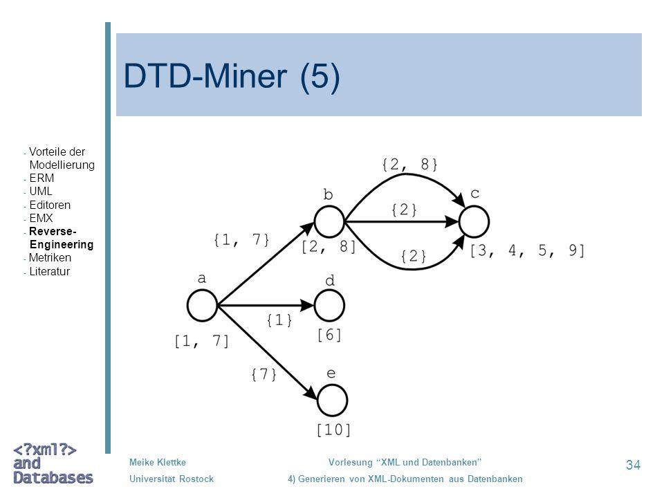 DTD-Miner (5) Vorteile der Modellierung ERM UML Editoren EMX Reverse-