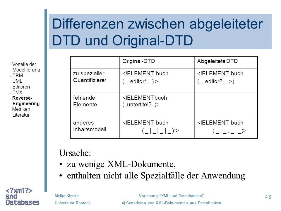 Differenzen zwischen abgeleiteter DTD und Original-DTD
