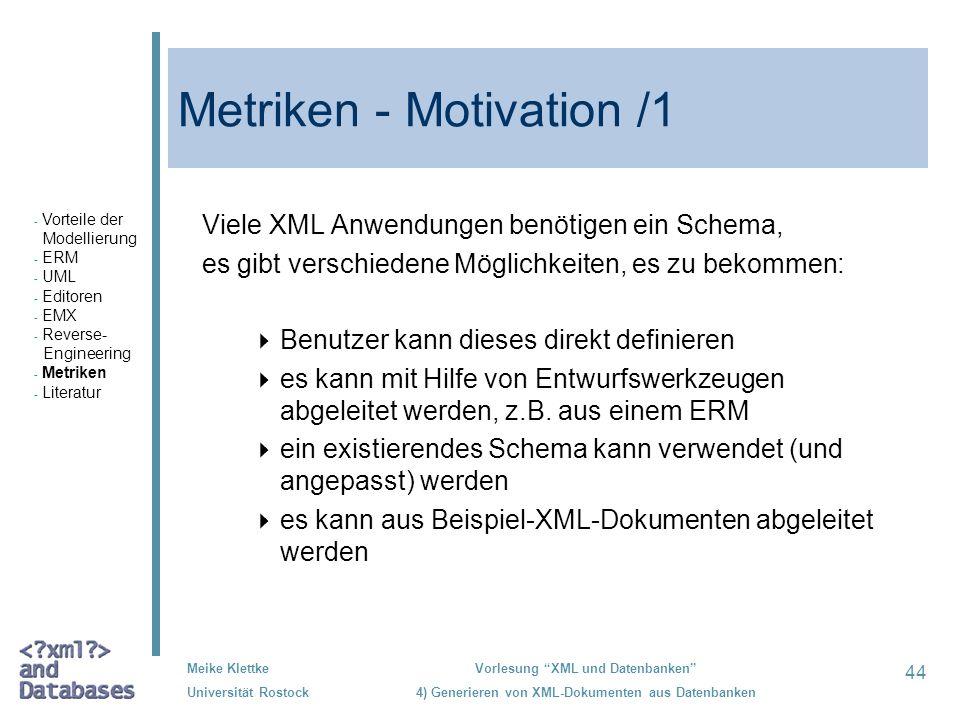 Metriken - Motivation /1