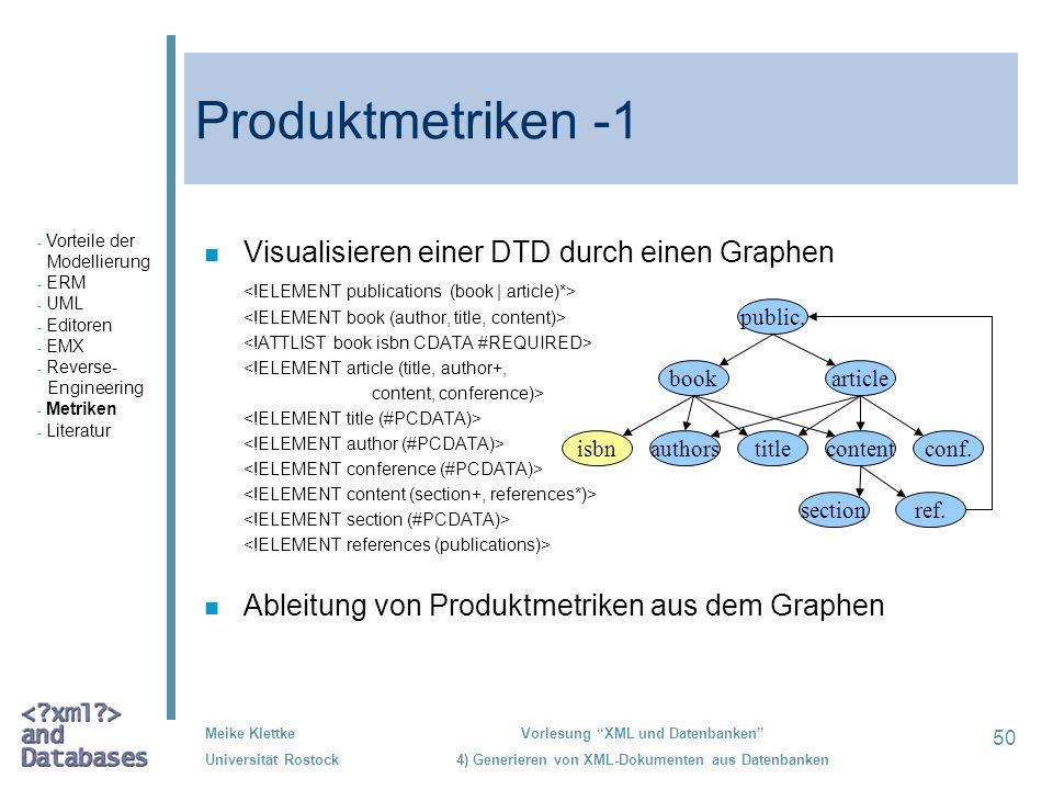 Produktmetriken -1 Visualisieren einer DTD durch einen Graphen