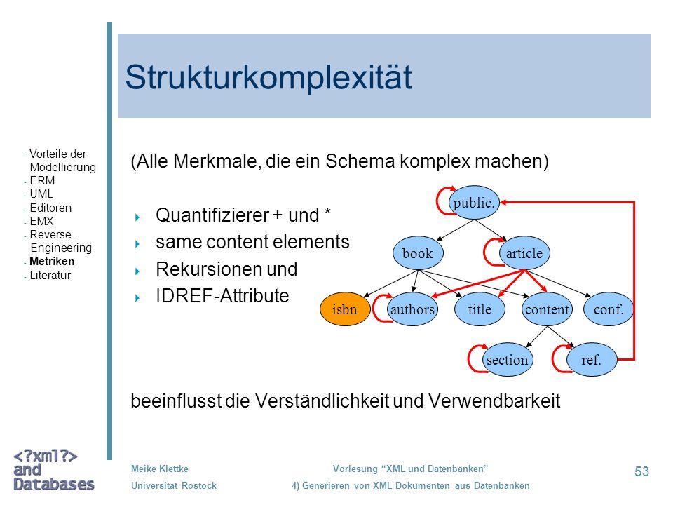 Strukturkomplexität (Alle Merkmale, die ein Schema komplex machen)