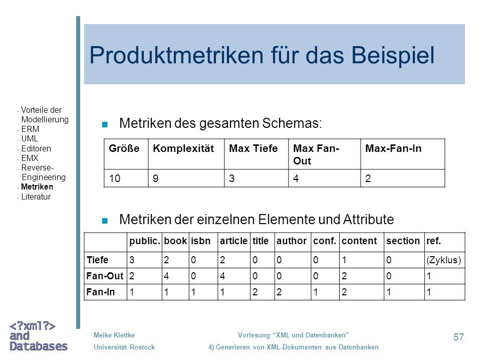 Produktmetriken für das Beispiel