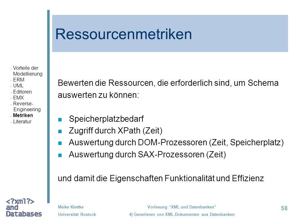 Ressourcenmetriken Vorteile der. Modellierung. ERM. UML. Editoren. EMX. Reverse- Engineering.