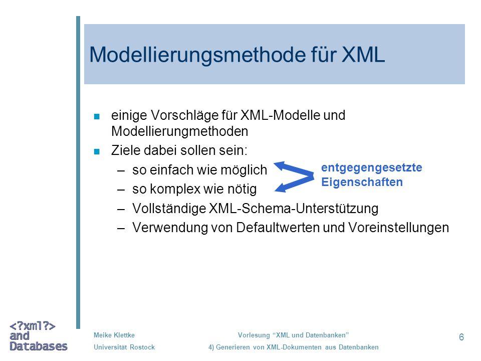 Modellierungsmethode für XML