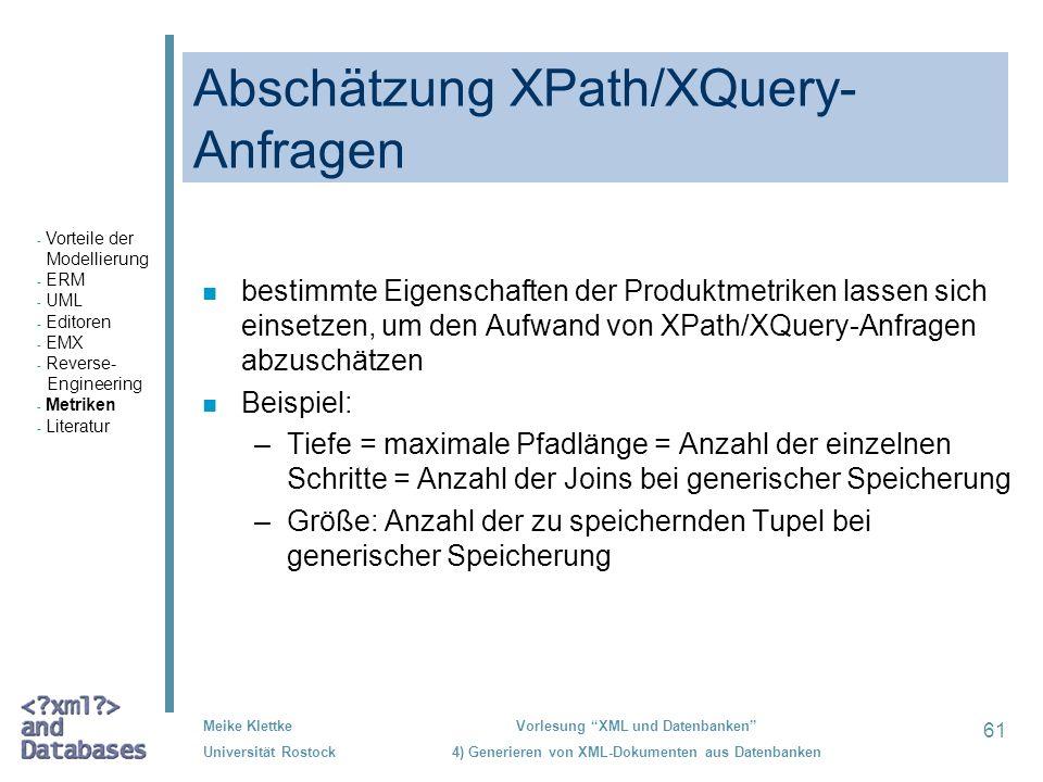 Abschätzung XPath/XQuery-Anfragen