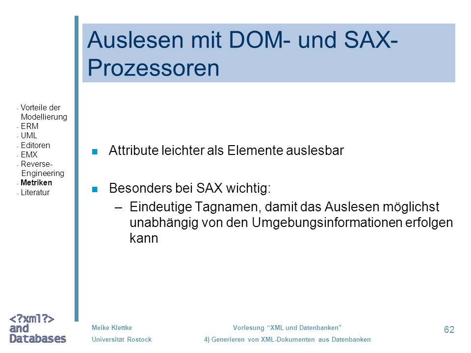 Auslesen mit DOM- und SAX-Prozessoren