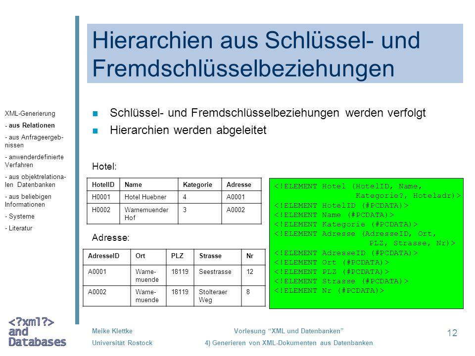 Hierarchien aus Schlüssel- und Fremdschlüsselbeziehungen