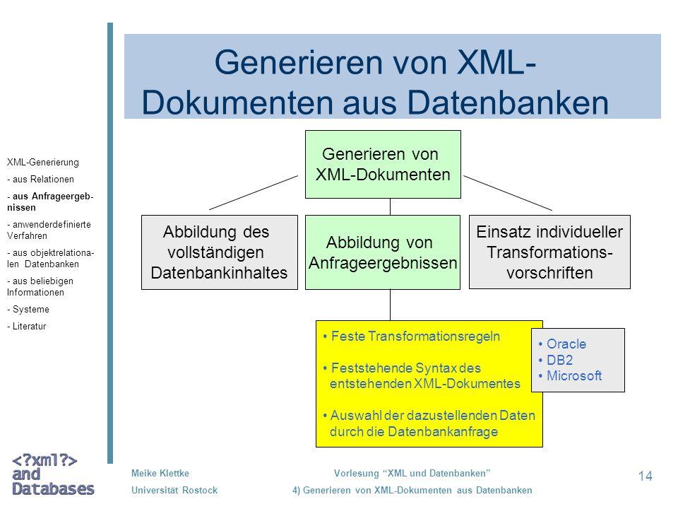 Generieren von XML-Dokumenten aus Datenbanken