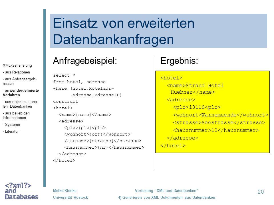 Einsatz von erweiterten Datenbankanfragen