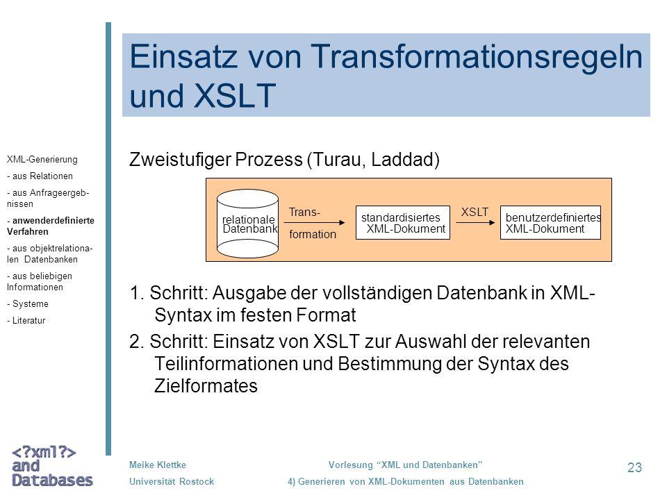 Einsatz von Transformationsregeln und XSLT