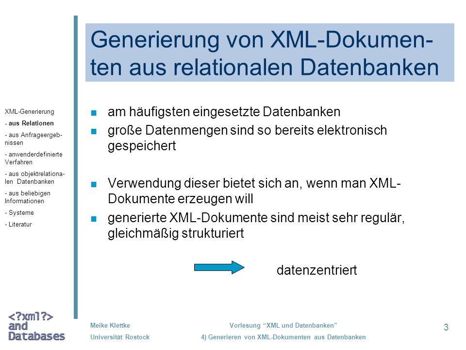 Generierung von XML-Dokumen-ten aus relationalen Datenbanken