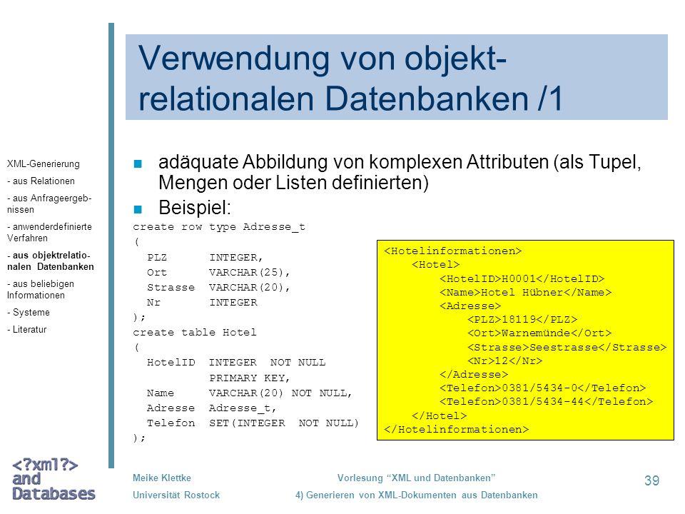 Verwendung von objekt-relationalen Datenbanken /1