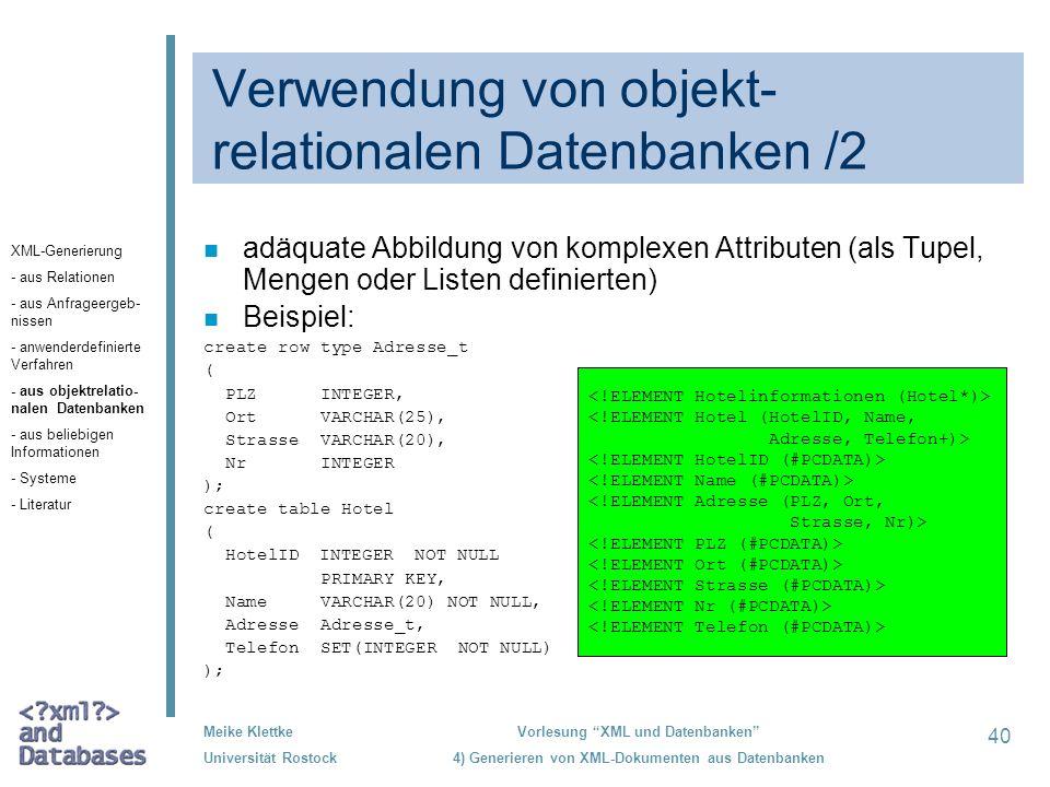 Verwendung von objekt-relationalen Datenbanken /2