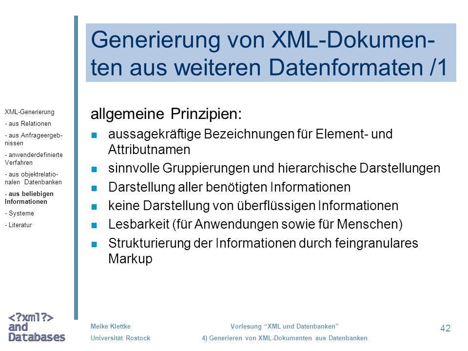 Generierung von XML-Dokumen-ten aus weiteren Datenformaten /1