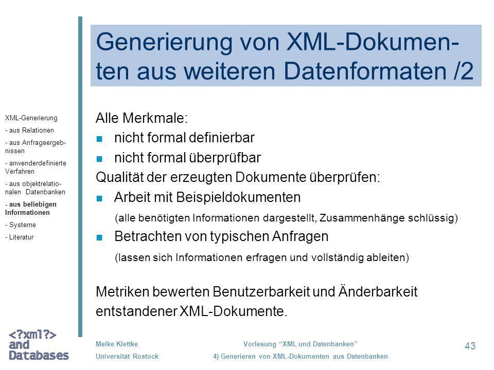 Generierung von XML-Dokumen-ten aus weiteren Datenformaten /2
