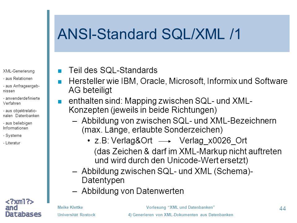 ANSI-Standard SQL/XML /1