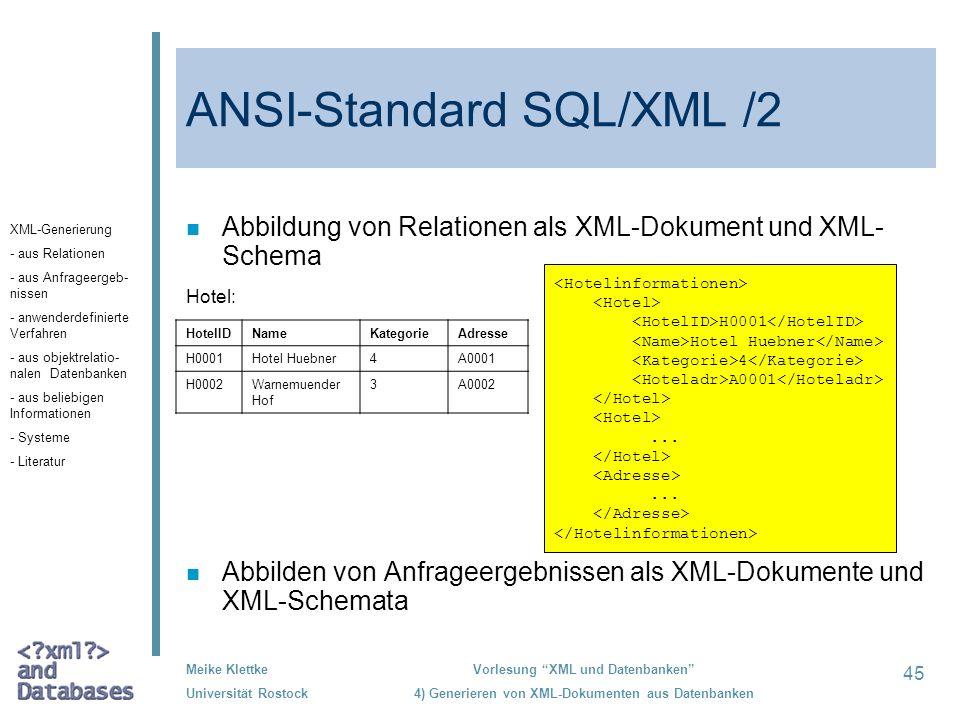 ANSI-Standard SQL/XML /2