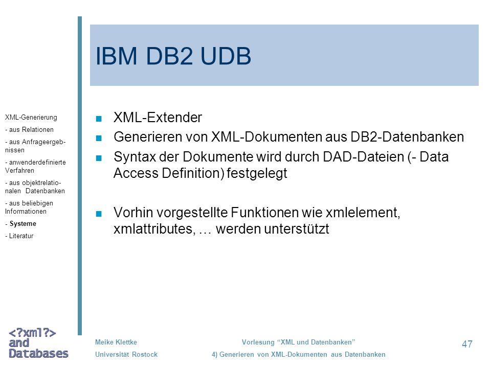 IBM DB2 UDB XML-Extender