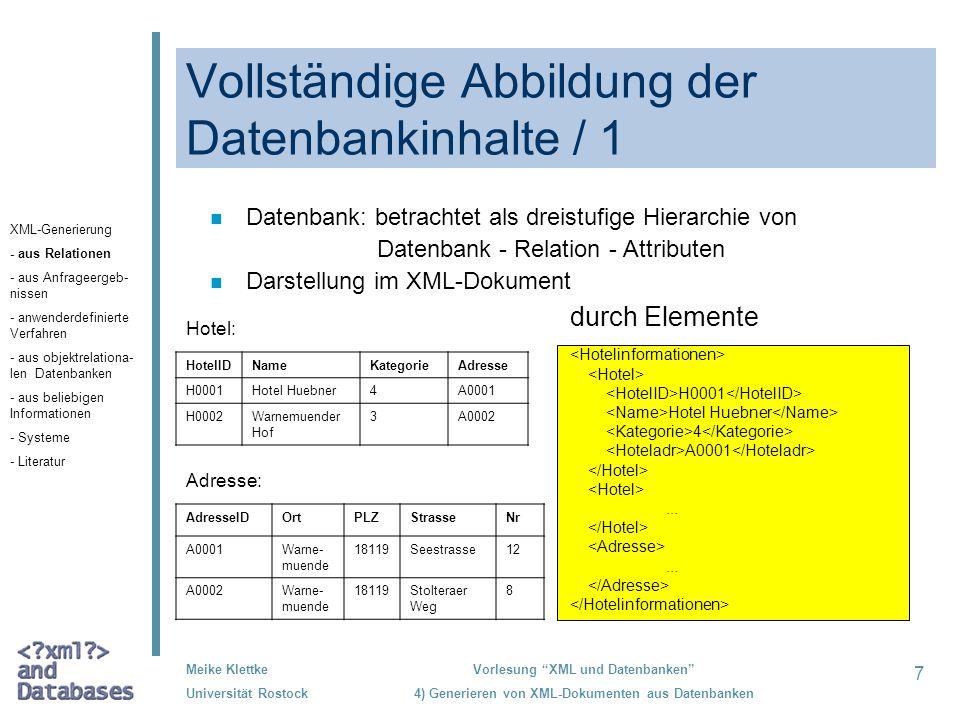 Vollständige Abbildung der Datenbankinhalte / 1
