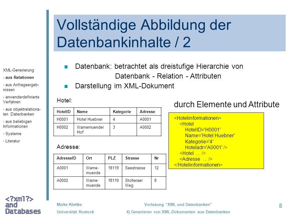 Vollständige Abbildung der Datenbankinhalte / 2