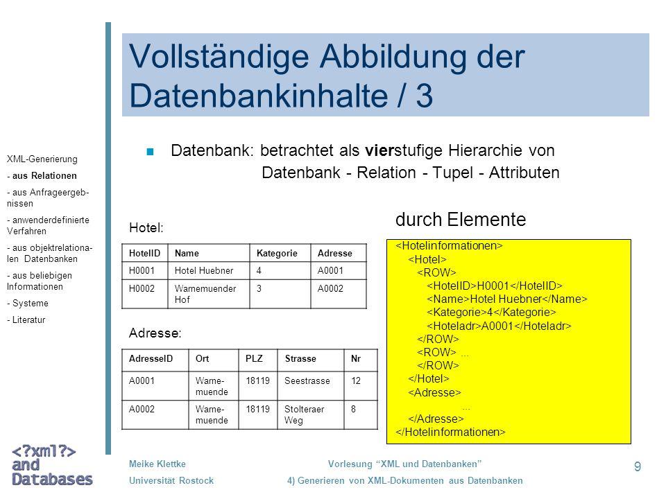 Vollständige Abbildung der Datenbankinhalte / 3