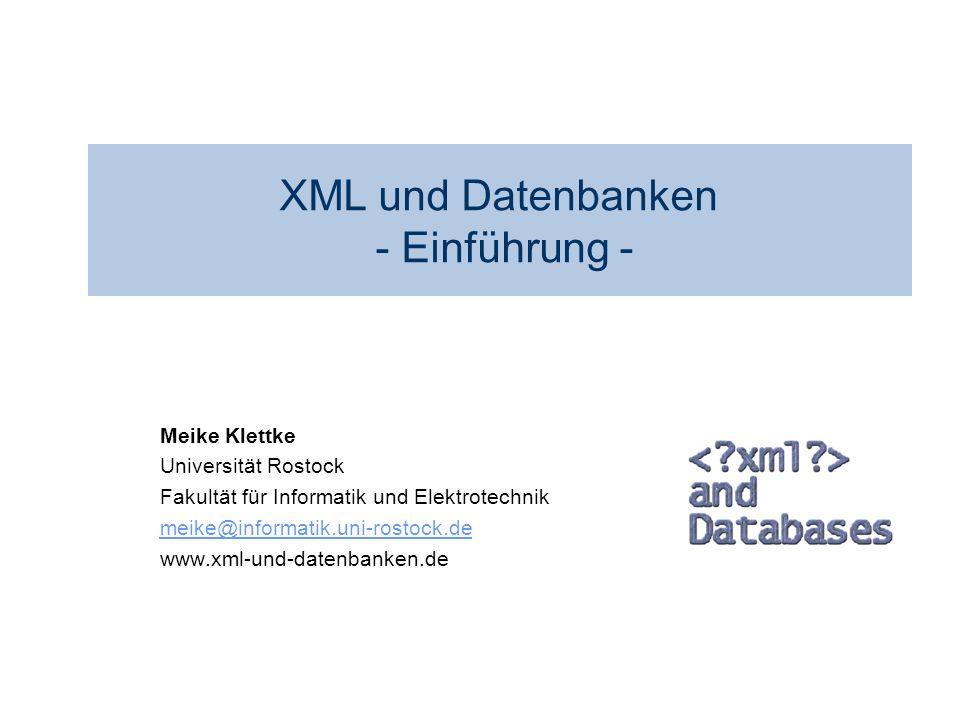 XML und Datenbanken - Einführung -