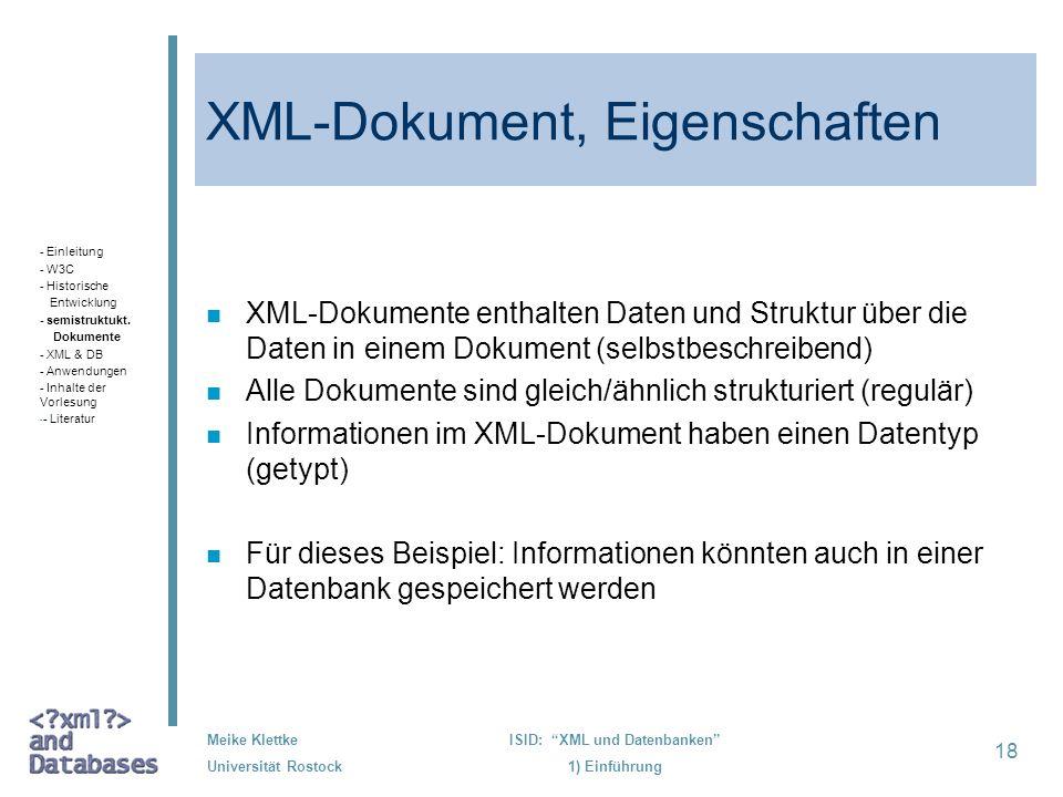 XML-Dokument, Eigenschaften