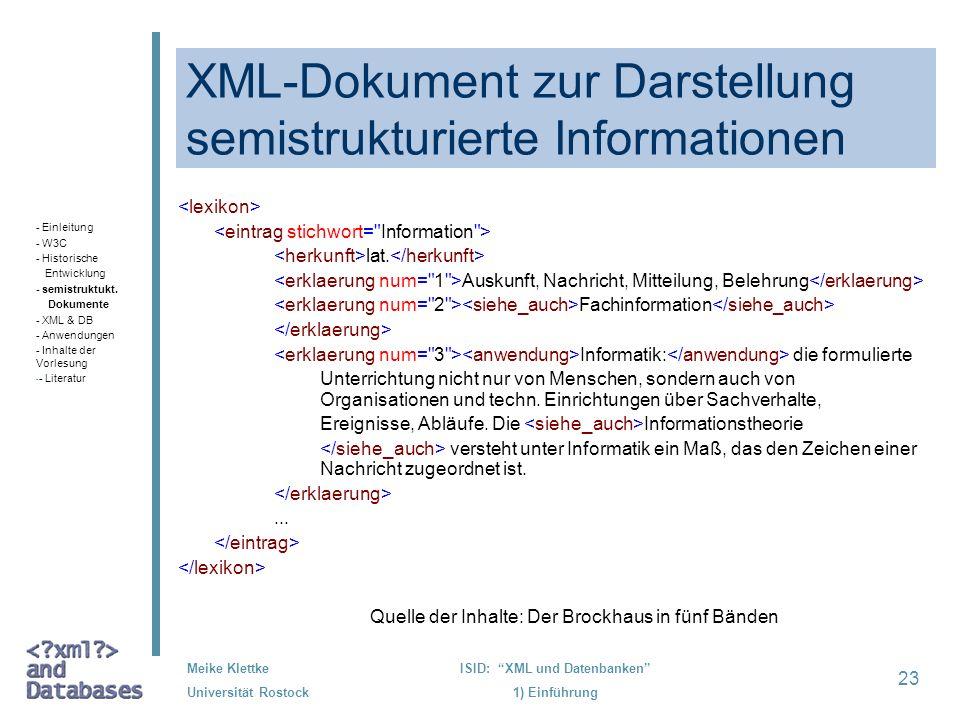 XML-Dokument zur Darstellung semistrukturierte Informationen