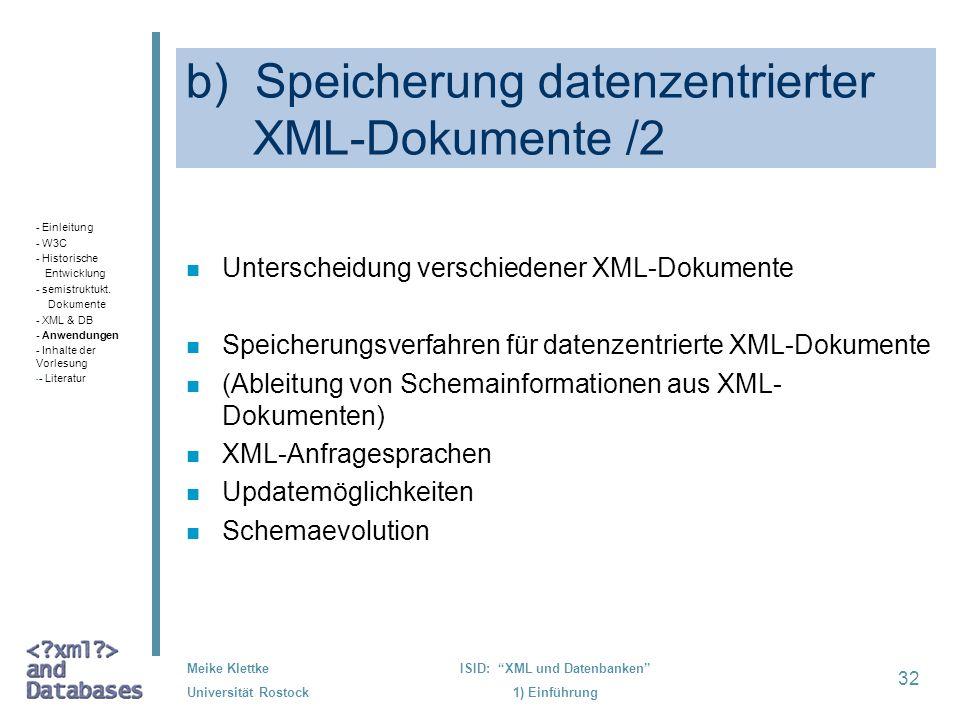 b) Speicherung datenzentrierter XML-Dokumente /2