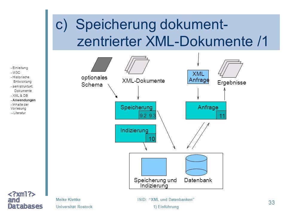 c) Speicherung dokument- zentrierter XML-Dokumente /1