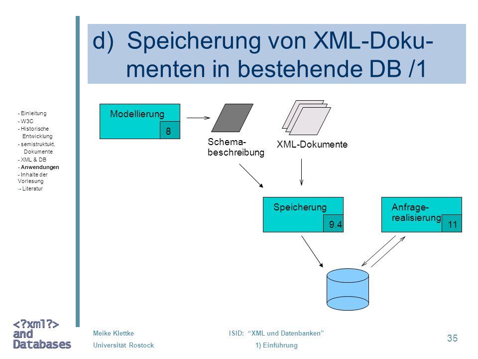 d) Speicherung von XML-Doku- menten in bestehende DB /1