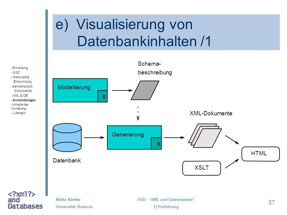 e) Visualisierung von Datenbankinhalten /1