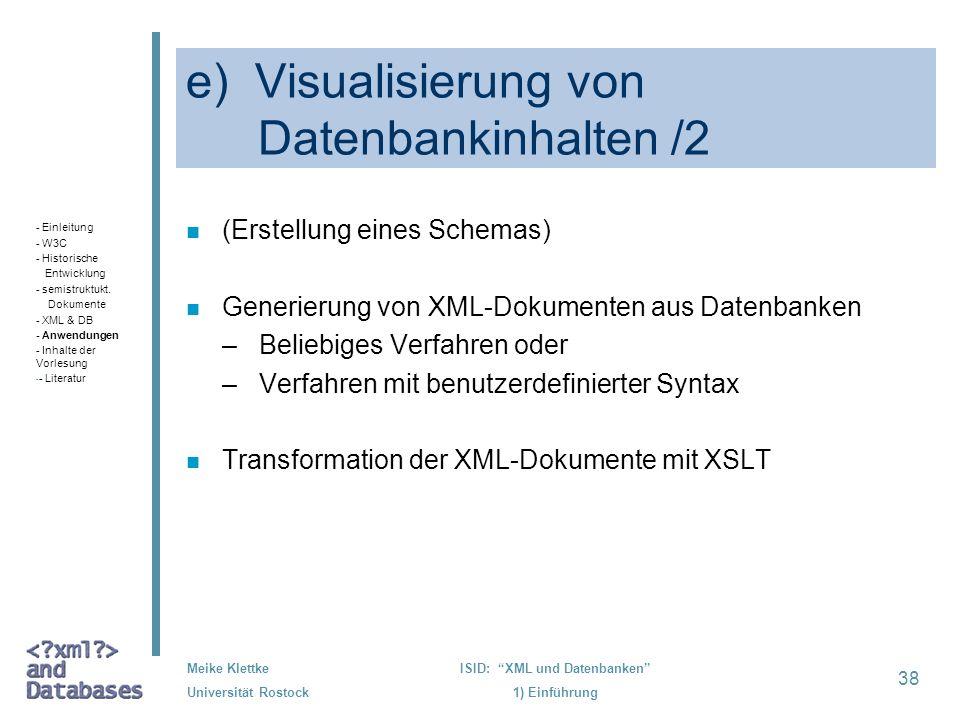 e) Visualisierung von Datenbankinhalten /2