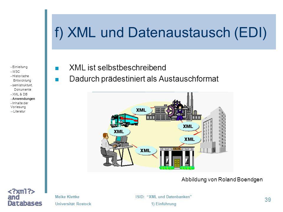 f) XML und Datenaustausch (EDI)