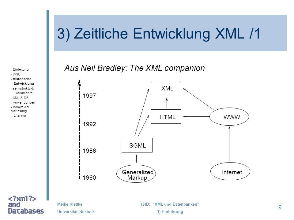 3) Zeitliche Entwicklung XML /1