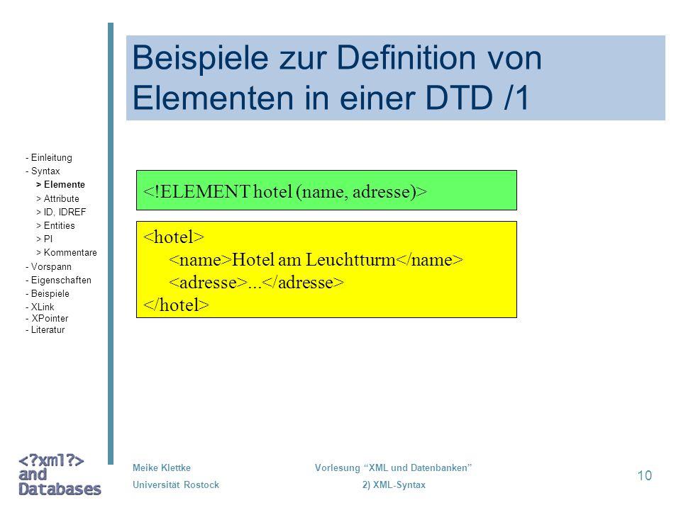Beispiele zur Definition von Elementen in einer DTD /1