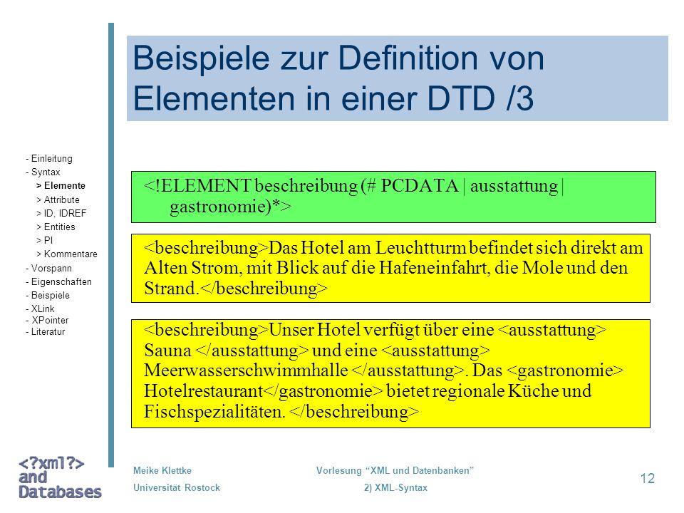 Beispiele zur Definition von Elementen in einer DTD /3