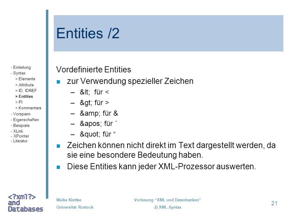 Entities /2 Vordefinierte Entities zur Verwendung spezieller Zeichen