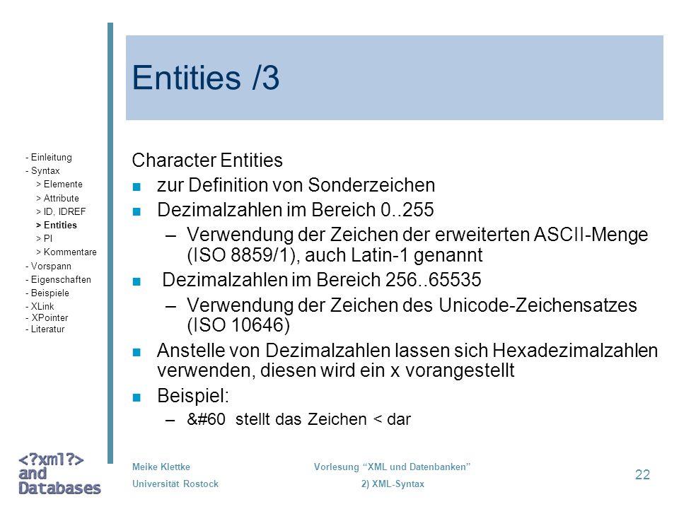 Entities /3 Character Entities zur Definition von Sonderzeichen