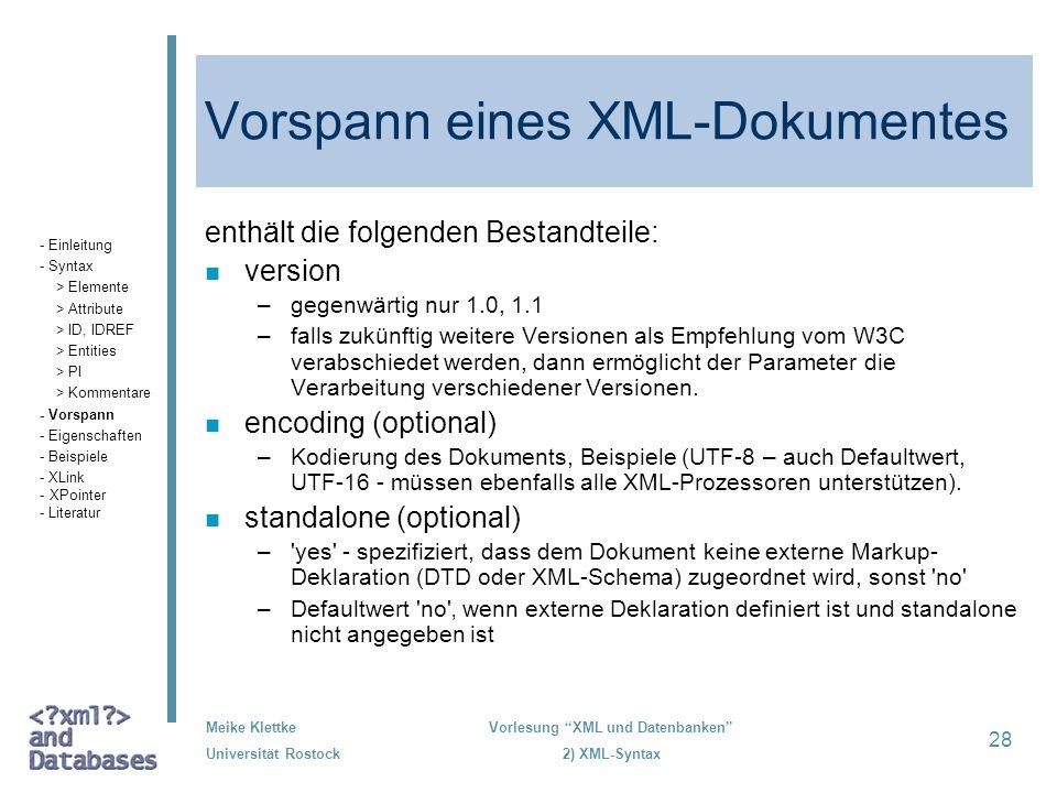 Vorspann eines XML-Dokumentes