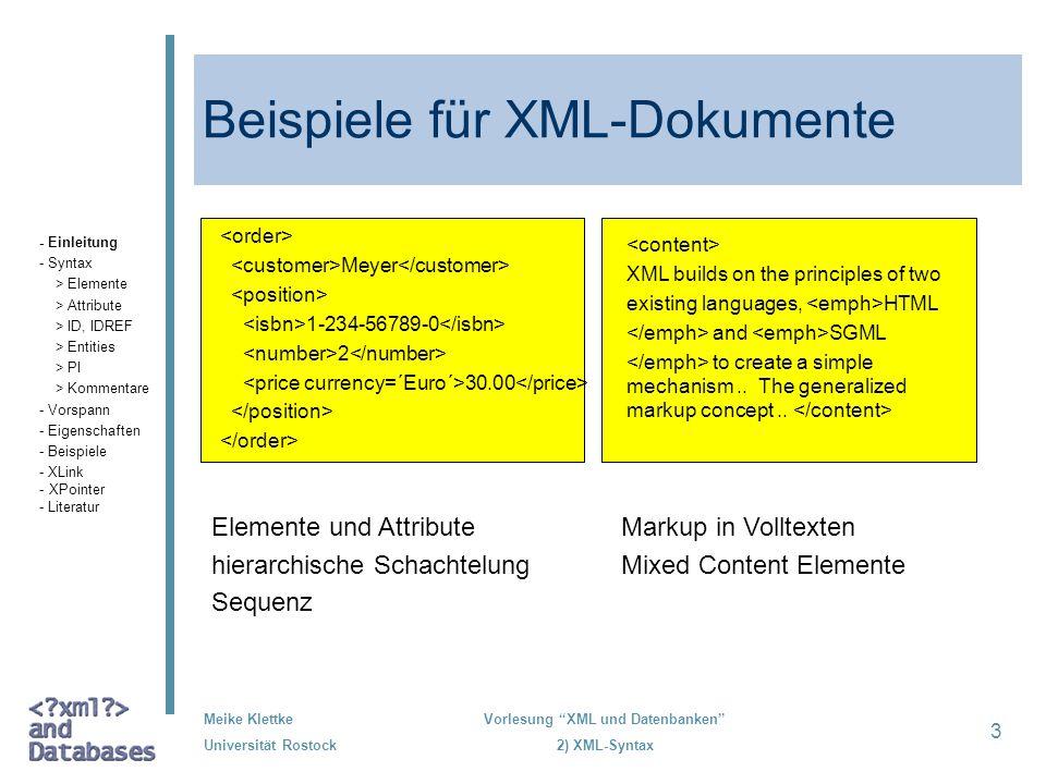 Beispiele für XML-Dokumente