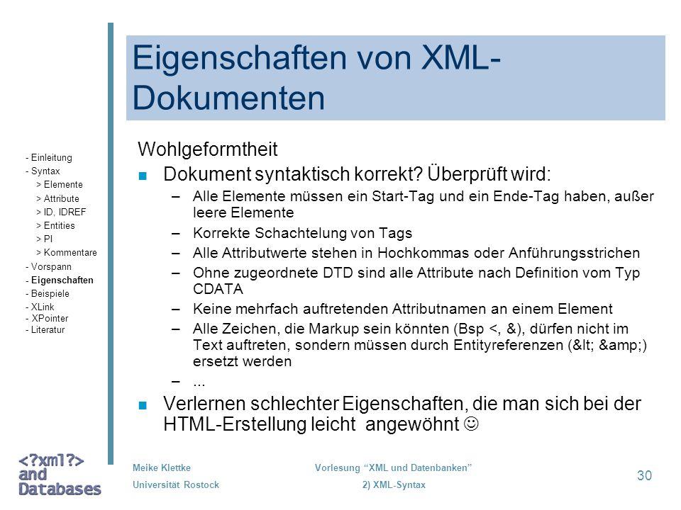 Eigenschaften von XML-Dokumenten