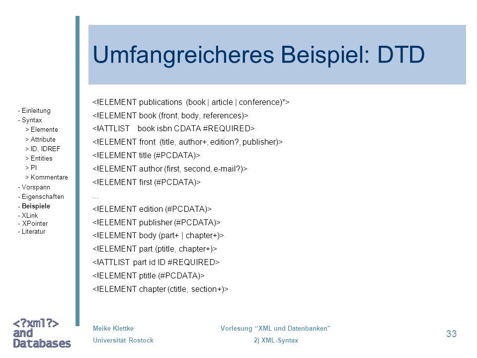 Umfangreicheres Beispiel: DTD